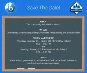 Community Meeting: Enrollment Rebalancing & School Hours @ Spring Mill Elementary School   Indianapolis   Indiana   United States